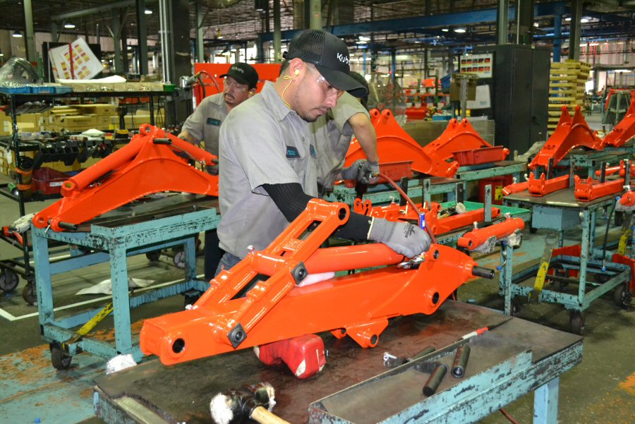 An employee during the sub assembly process.