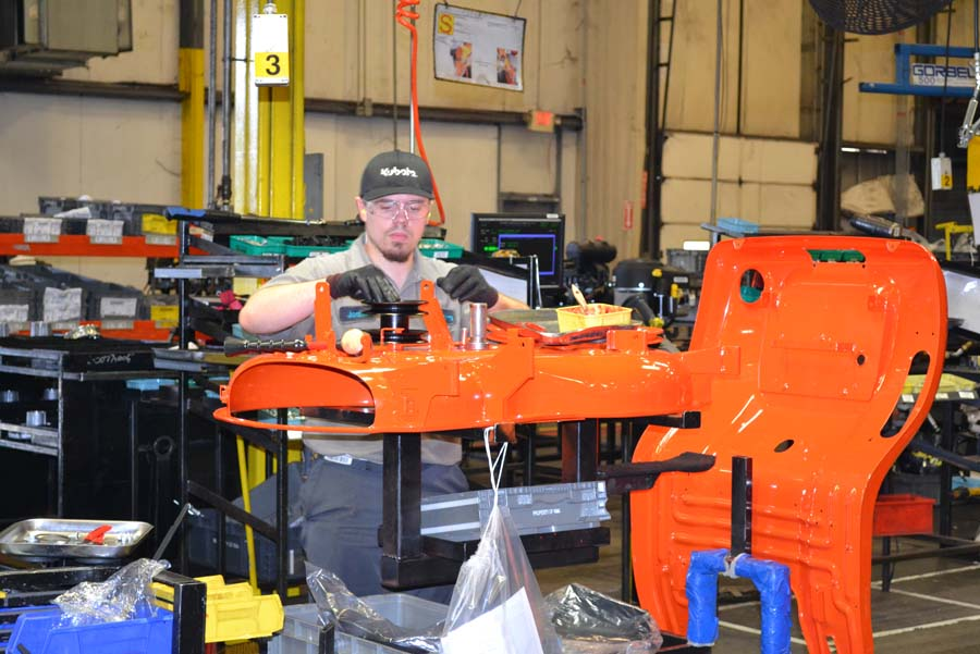 Sub Assembly of parts on the Tractor line in Building 2.