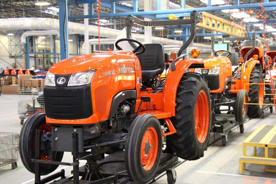 Tractors almost ready to come off of the assembly line in Building 2.
